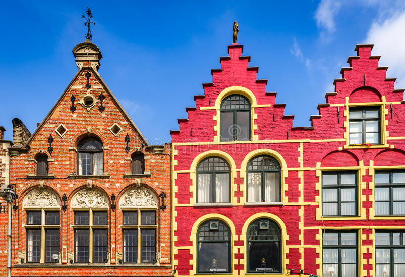 Bruges colorful houses in Markt, Belgium stock photo