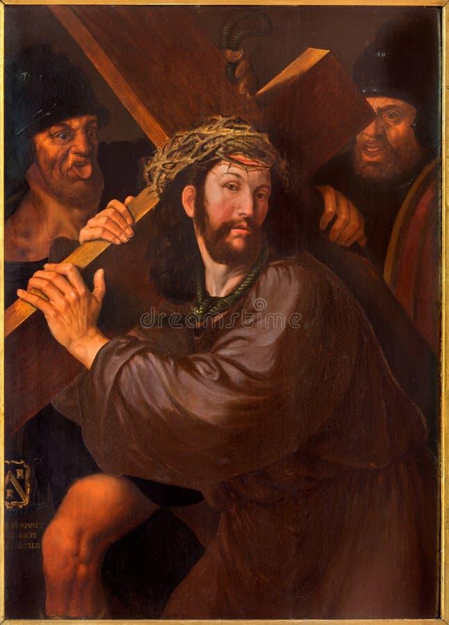 Bruges - Cristo sotto la pittura trasversale dal pittore sconosciuto dalla prima metà dei 18 centesimo nella chiesa della st Jaco fotografia stock libera da diritti