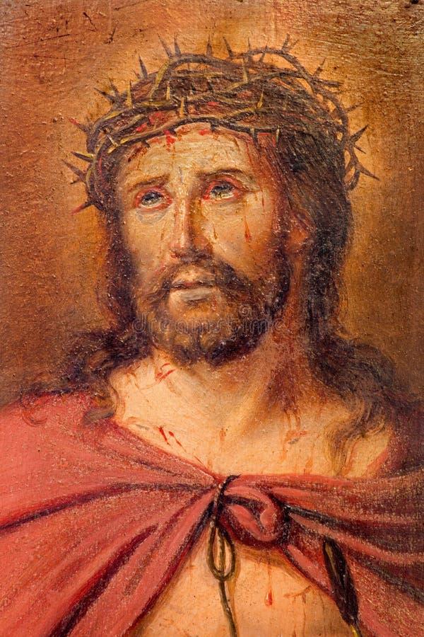 Bruges - detalhe de pouca pintura de Jesus Christ na ligação por pintor desconhecido na caixa da confissão na igreja de St Giles imagem de stock royalty free