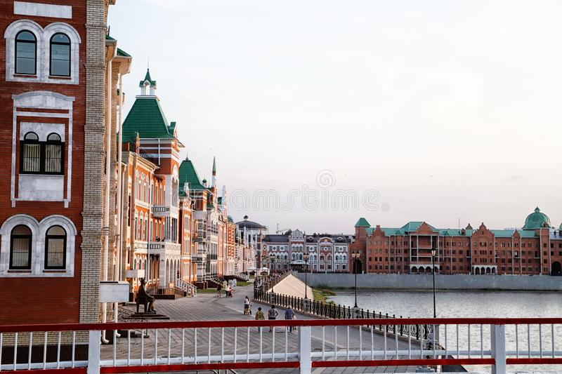 Bruges embankment in the summer evening in the city of Yoshkar-Ola in the Republic of Mari-El in Russia stock photo