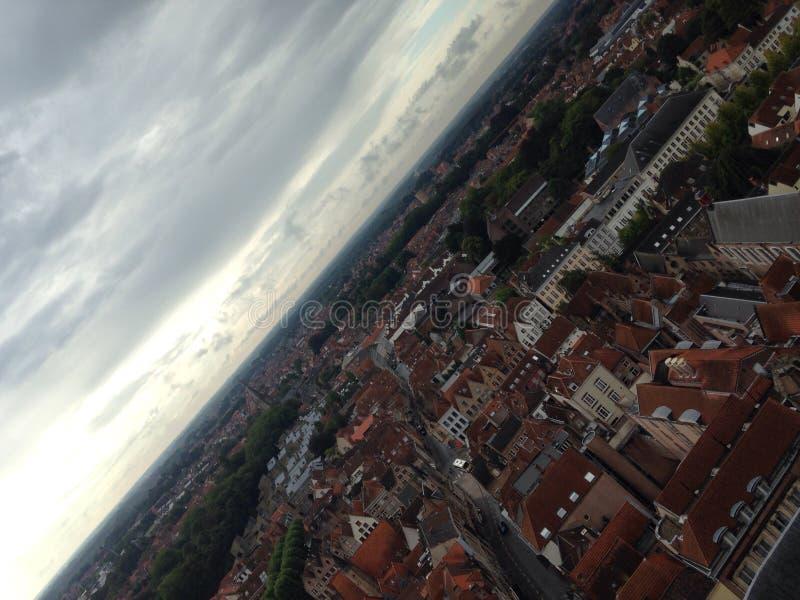 Bruges fågelperspektiv royaltyfri fotografi