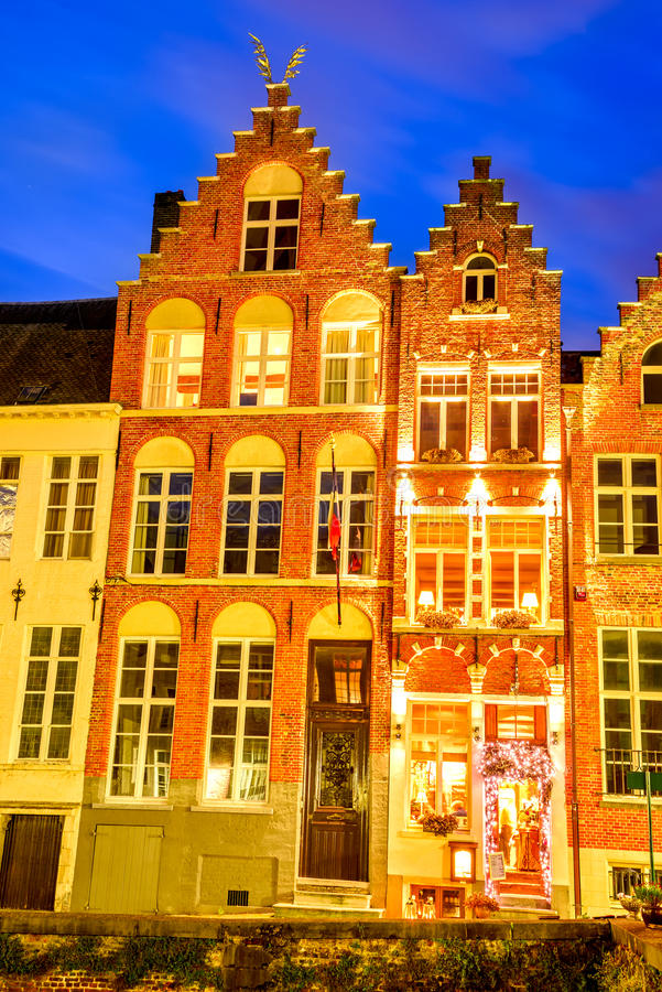 Bruges, Flanders, Belgium. Bruges, Belgium. Night image with old medieval house facade, brickwork in Brugge, West Flanders in Benelux country stock photography