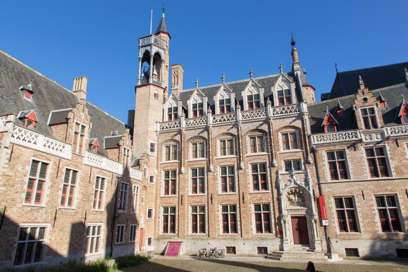 Bruges - Gruuthusemuseumen i aftonljus arkivbilder