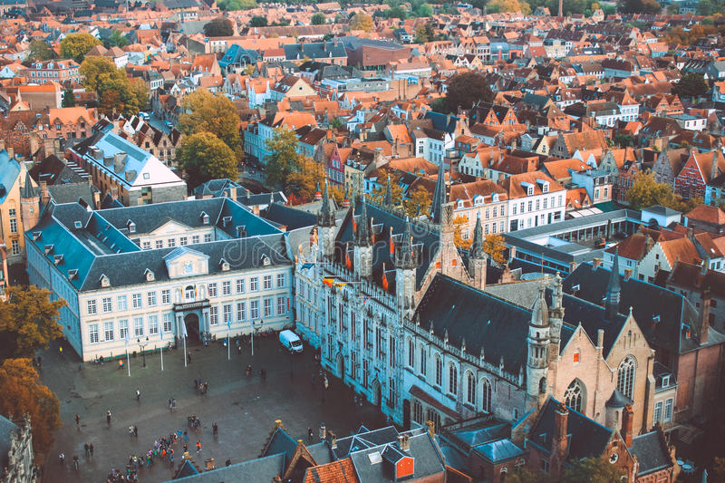 Bruges high view stock photo