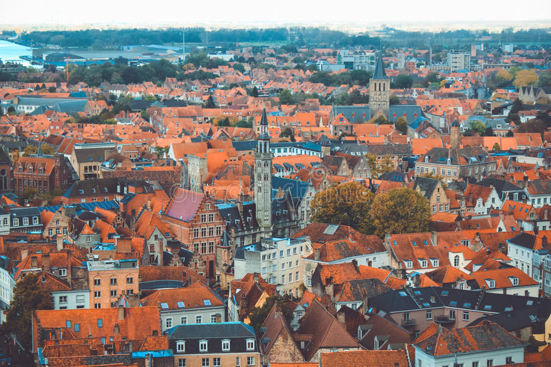 Bruges hight view stock image