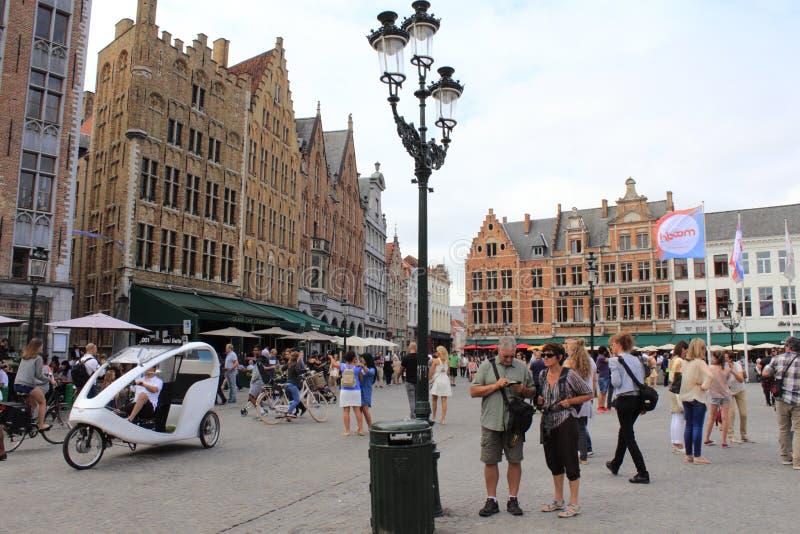 Bruges historisk stadsgata royaltyfria foton