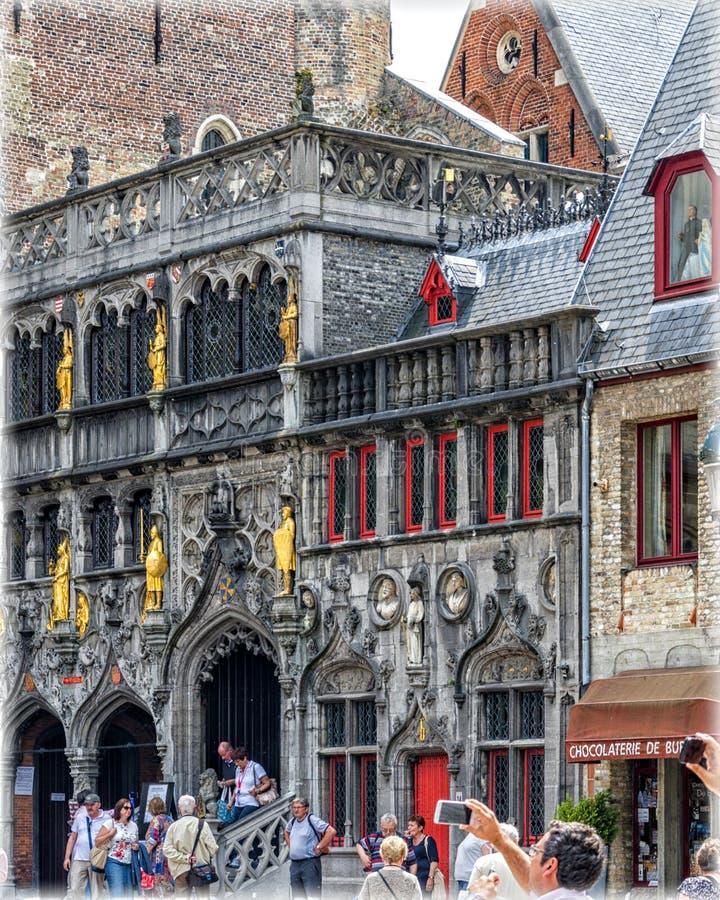 Bruges i aftonen arkivbild