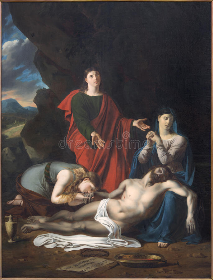 Bruges - il deposito della pittura trasversale da Joseph-Denis Odevaere (1812) nella chiesa di Walburga del san fotografia stock