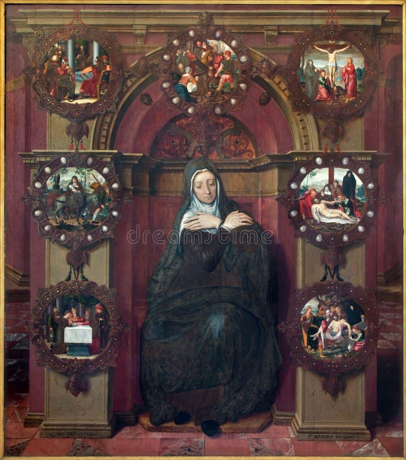 Bruges - la pittura di vergine Maria e delle immagini a partire da vita di Gesù da Petrus Pourbus (1556) nella chiesa della st Ja fotografia stock libera da diritti
