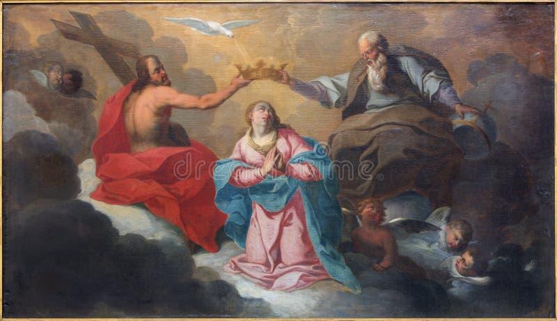 Bruges le couronnement de la peinture de Vierge Marie par J Garemijn (1750) images libres de droits