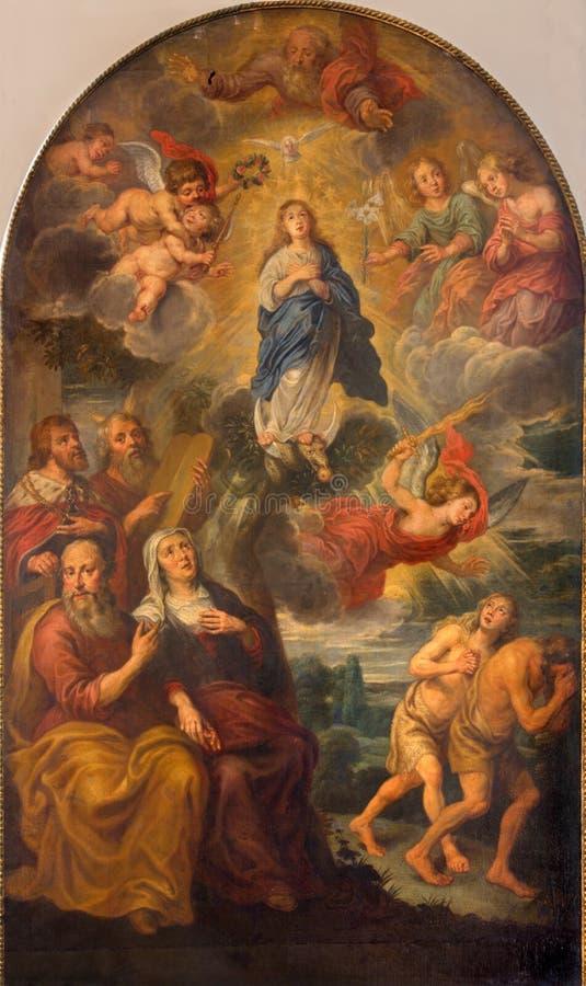 Bruges - le couronnement de Vierge Marie dans l'église de St Giles (Sint Gilliskerk) image libre de droits