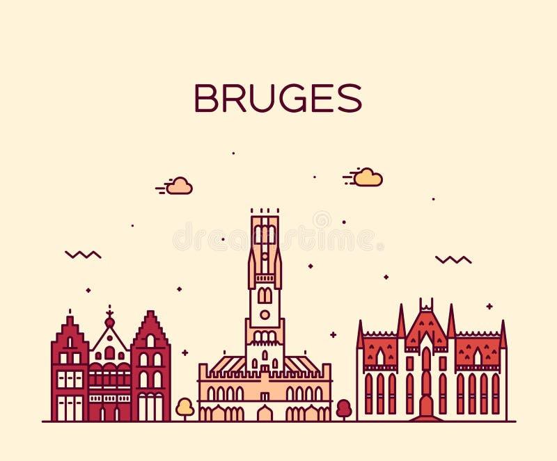 Bruges linia horyzontu, Zachodni Flandryjski, Belgia wektoru linia royalty ilustracja