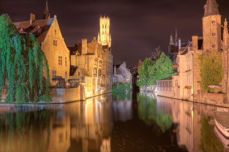 Bruges at night. royalty free stock image