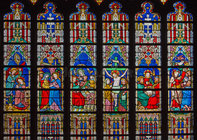 Bruges - nowy testament sceny na windowpane w St Salvator katedrze (Salvatorskerk) obraz royalty free
