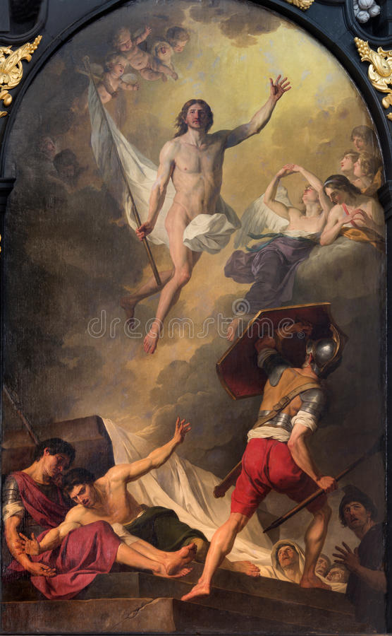 Bruges - The paint of Resurrection by J. Suvee (1743-1807) in st. Walburga church. royalty free stock images