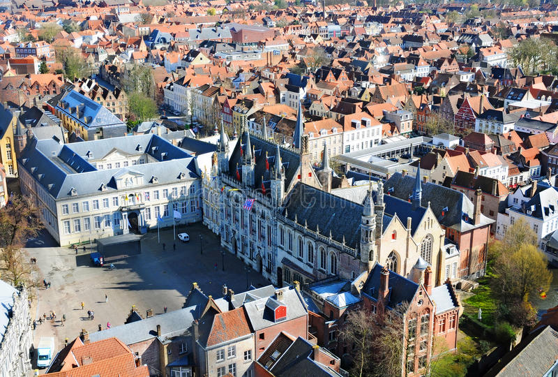 Bruges panorama view. Panorama view on the old town of Bruges, Belgium. In the center the historic city hall of Brunges royalty free stock photos