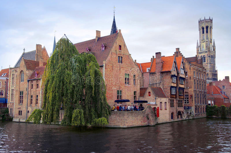 Bruges panoramic view royalty free stock photo