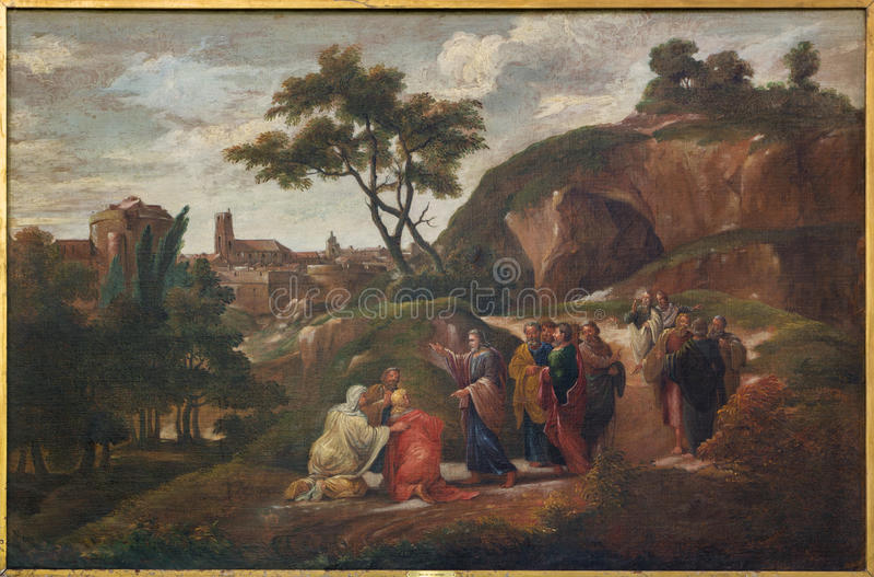 Bruges - pintura da cena Jesus e discípulo por D Nolet 1645) na igreja do st Jacobs (Jakobskerk) fotografia de stock royalty free