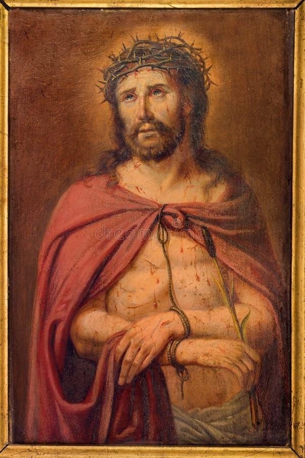 Bruges - pouca pintura de Jesus Christ na ligação por pintor desconhecido na caixa da confissão em St Giles imagem de stock royalty free