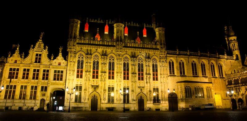 Bruges przy nocą fotografia stock