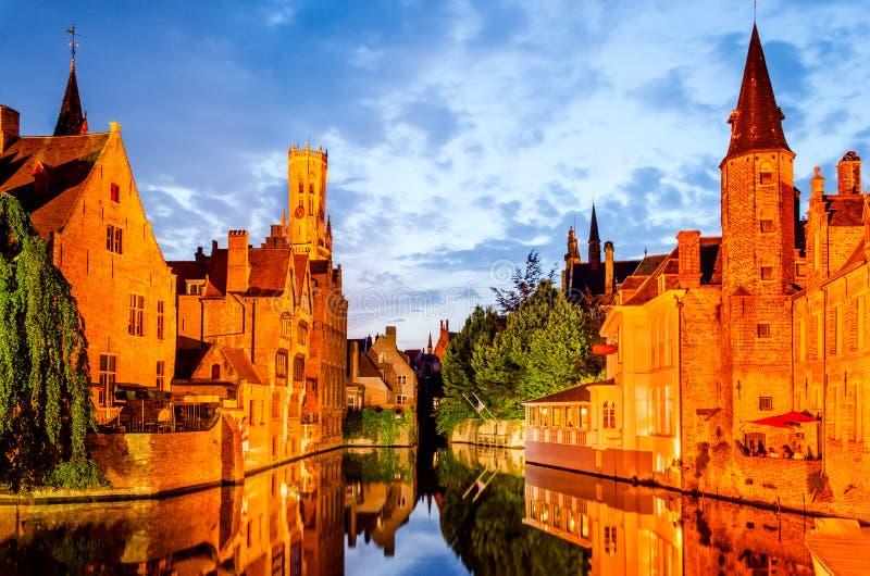 Bruges, Belgium - Rozenhoedkaai and Belfry royalty free stock photography