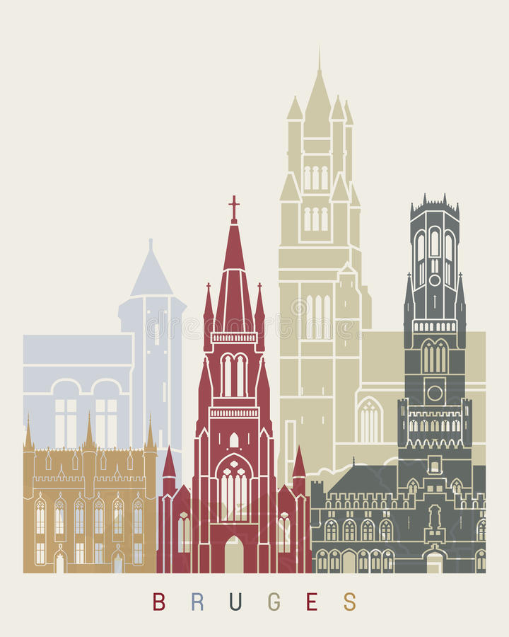 Bruges skyline poster stock illustration