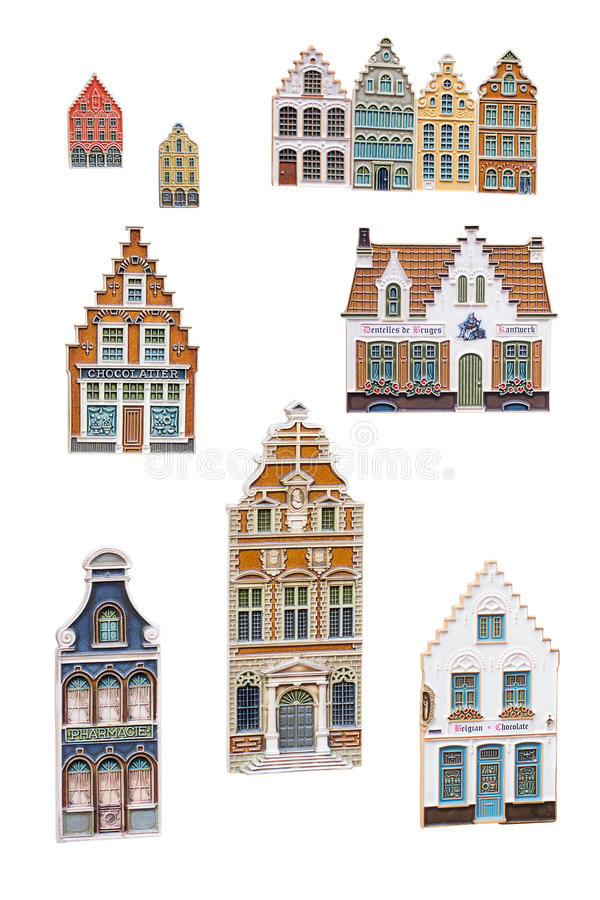 Bruges souvenir magnets vector illustration