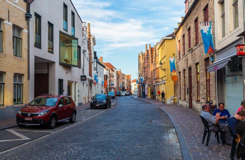Bruges stadssikt Brugge berömd destination av Belgien royaltyfri bild