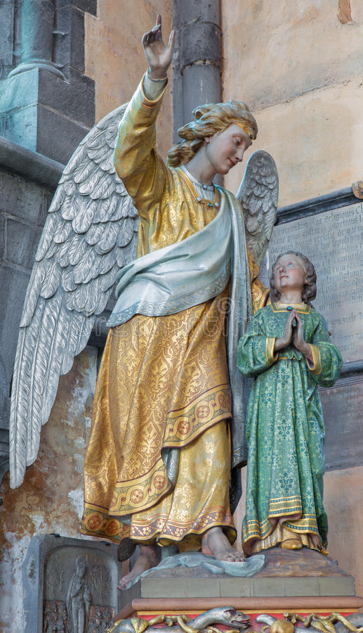Free Bruges - The Guardian Angel Statu In The Church Our Lady. Stock Photo - 42834750