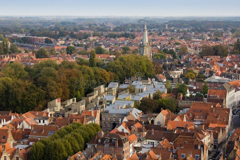 Bruges - vista della città da sopra fotografia stock libera da diritti