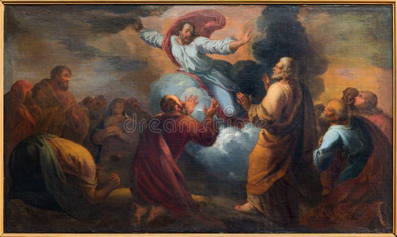 Bruges - wniebowstąpienie władyki farba niewiadomym malarzem w świętego Walburga kościół fotografia stock
