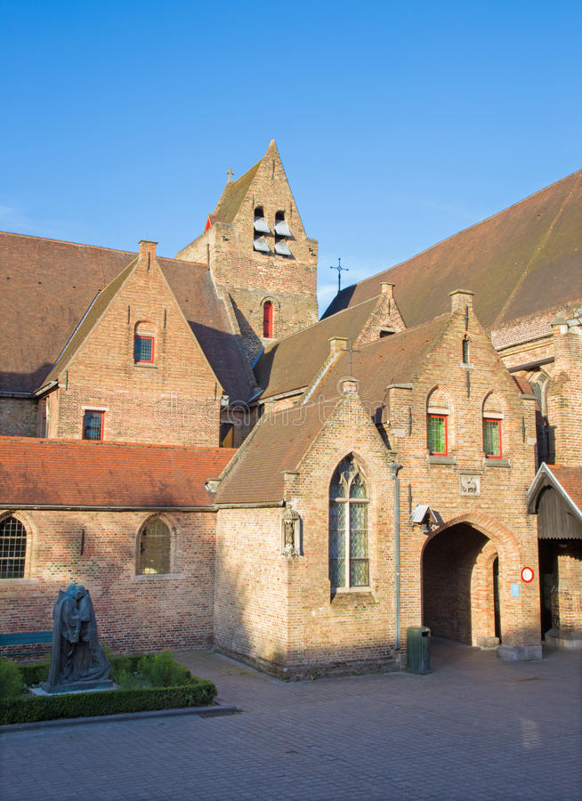 Bruges - The yard of Saint John Hospital (Sint Janshospitaal) in evening royalty free stock images