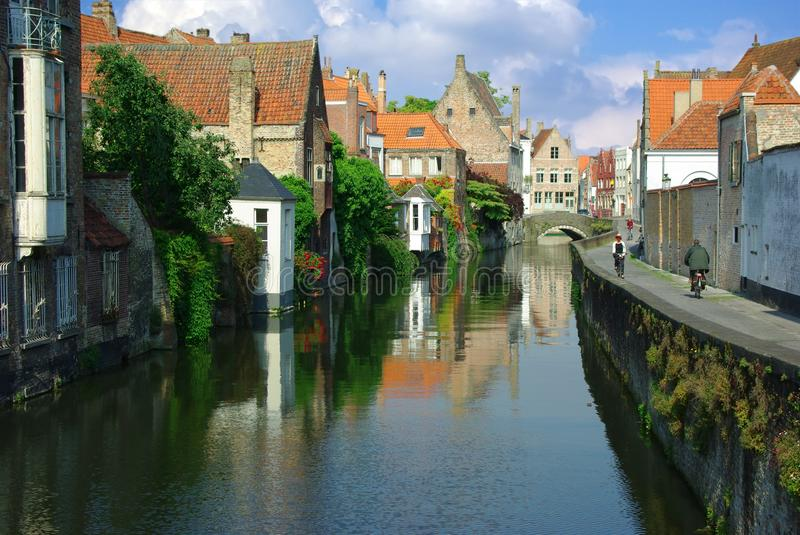 Brugge. On the photo: Channel in Brugge stock images