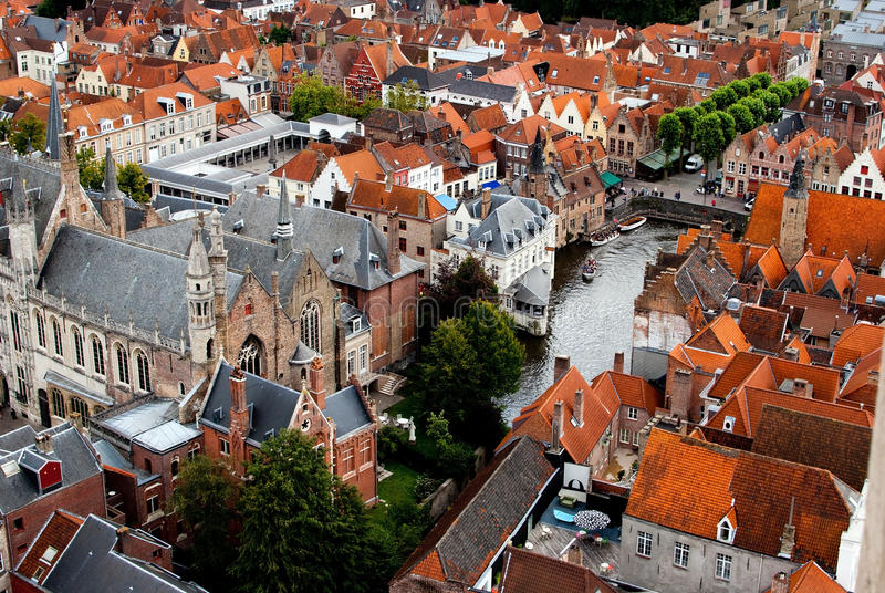 Brugge. View from the Brugge Tower stock photos