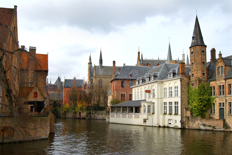 Brugge. View on a channel in Brugge, Belgium stock images
