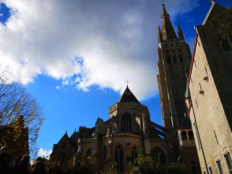 Brugge, Brugge, België Brugge, België Middeleeuwse stad Kerk van Onze Dame Bruges Onze Lieve Vrouw Brugge royalty-vrije stock foto