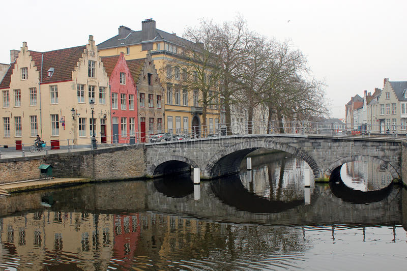 Brugge, Belgium. A scenic view of a canal in Brugge, Beligum royalty free stock photography