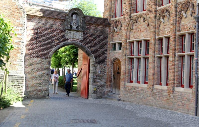 Brugge, Belgium. Narrow old street in beautiful Brugge, Belgium royalty free stock images