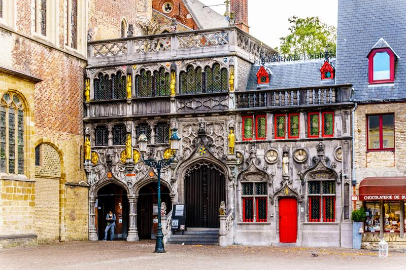 Basilica of the Holy Blood on the Burg Square in the heart of the historic city of Bruges, Belgium. Brugge/Belgium - Sept. 18 2018: Basilica of the Holy Blood on royalty free stock photo