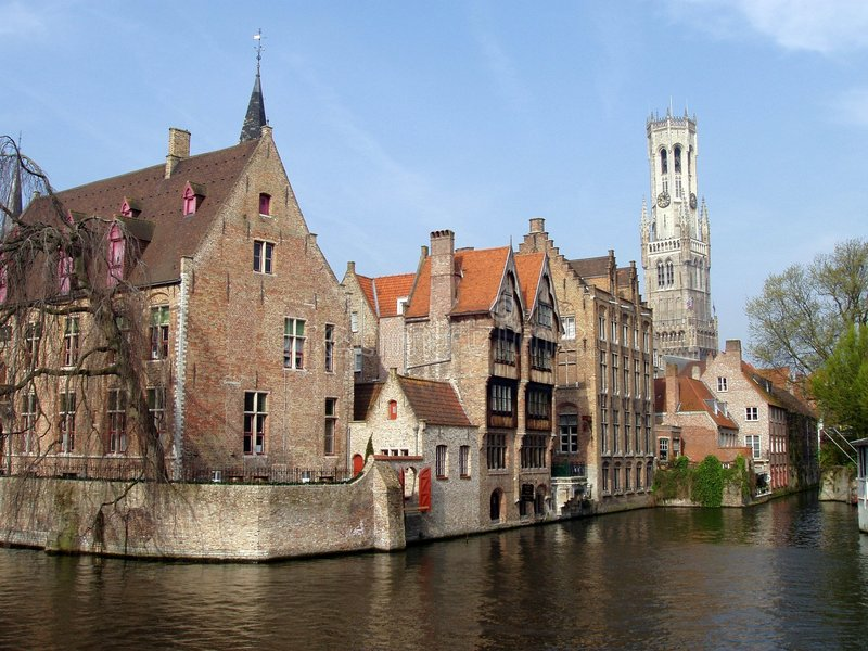 Brugge Bruges. A view on canal and Brugge, Belgium stock image