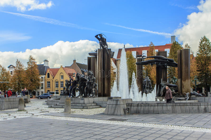 Brugge, Bruges, Belgium. Brugge, Bruges, Flanders, Belgium. The large square t Zand, with a beautiful central fountain. Here is a detail of the fountain with royalty free stock images