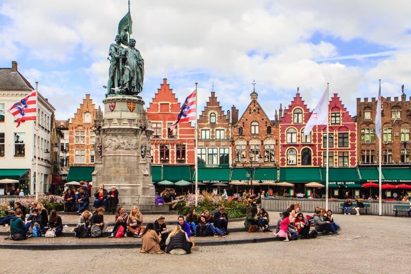 Brugge, Bruges, Belgium. Brugge, Bruges, Flanders, Belgium. On the market the statue of Jan Breydel and Pieter de Coninck, two of the heroes of the Golden Spurs royalty free stock photo