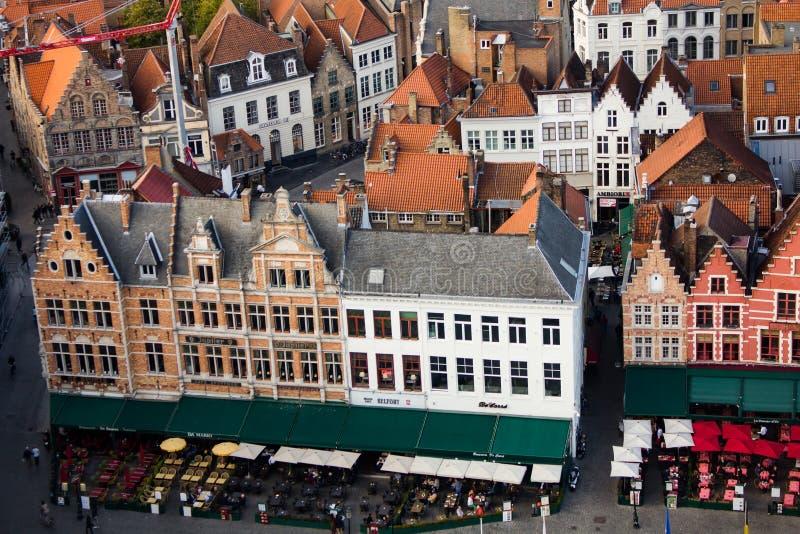 Brugge - centraal vierkant royalty-vrije stock afbeeldingen