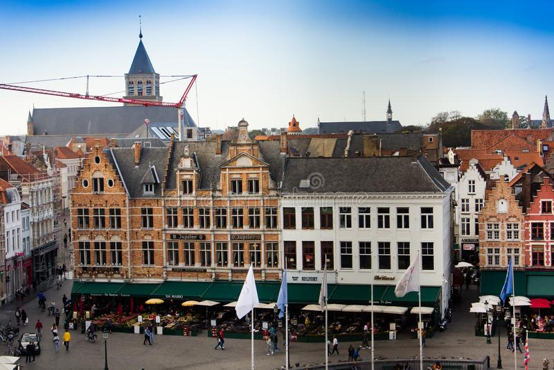 Brugge - centrale vierkante mening van hierboven royalty-vrije stock foto