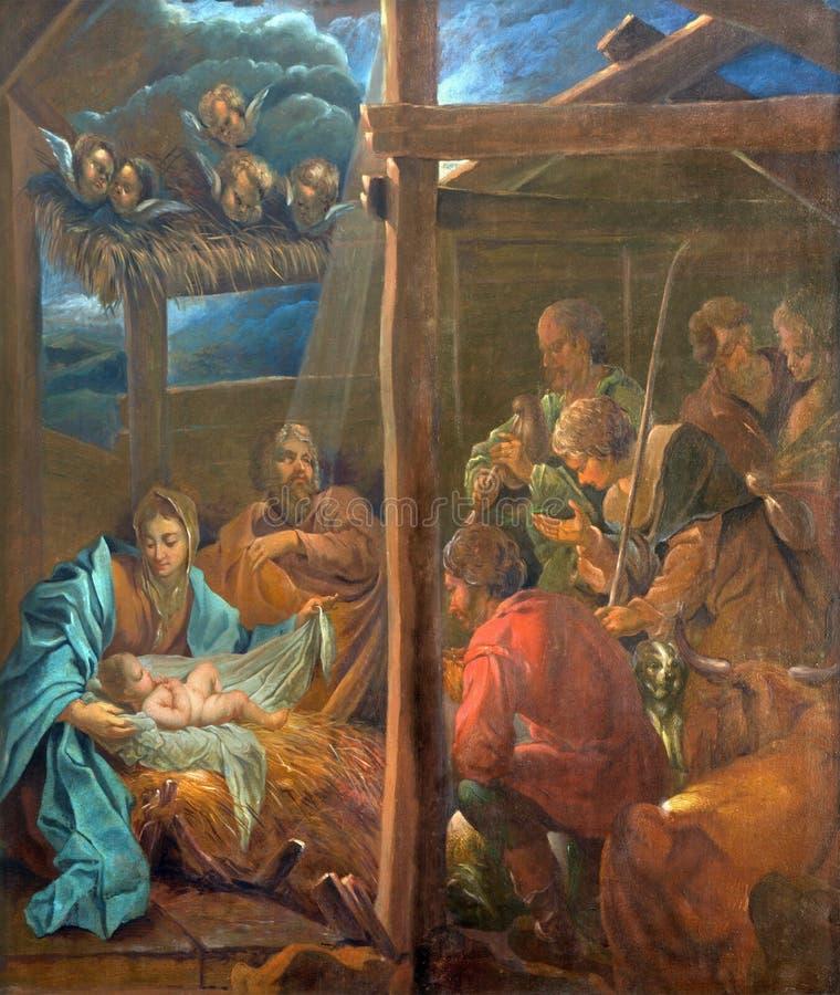Brugge - de Geboorte van Christusverf tegen Januari van den Kerckhove 1707 in st Jacobs kerk (Jakobskerk) stock foto's