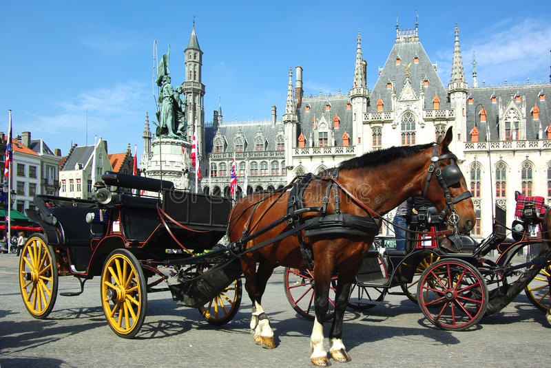 Brugge. Horse-driven cab. stock images