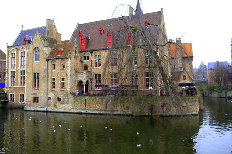 Download Brugge House stock image. Image of brick, church, river - 29484399