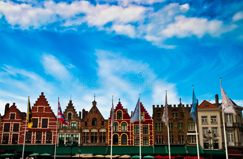 Brugge Market. Houses on the market place in Brugge in Belgium royalty free stock photos
