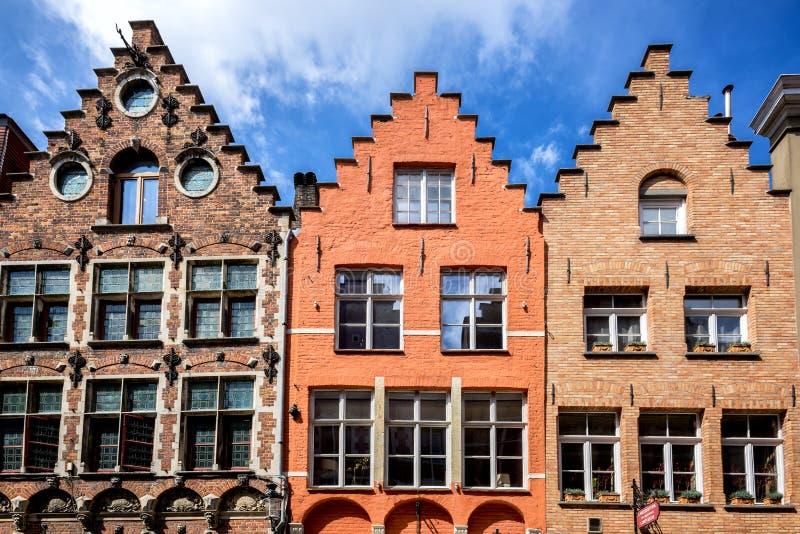 Brugge medeltida historisk stad Brugge gator och historisk mitt, kanaler och byggnader _ arkivbild