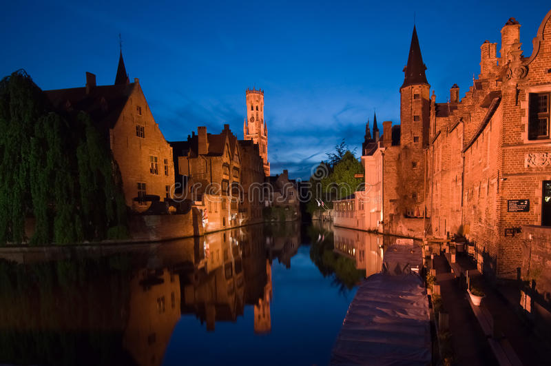 Brugge by night. Beautiful colors in brugge by night stock images